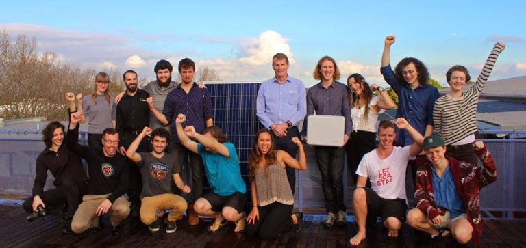 Stuccwits Standing in front of the new solar panels